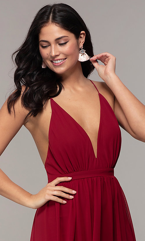 Image of long v-neck open-back prom dress by PromGirl. Style: MCR-PL-3065 Detail Image 6
