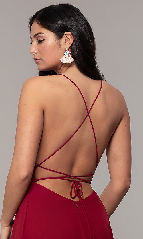 Image of long v-neck open-back prom dress by PromGirl. Style: MCR-PL-3065 Detail Image 2