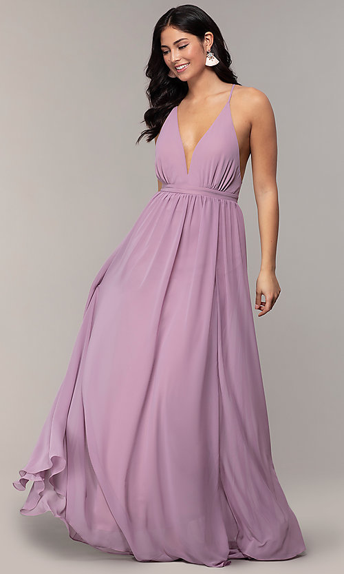Image of long v-neck open-back prom dress by PromGirl. Style: MCR-PL-3065 Detail Image 3