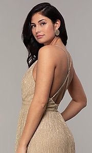 Image of v-neck glitter chiffon prom dress by PromGirl. Style: MCR-PL-3067 Detail Image 7