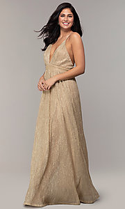 Image of v-neck glitter chiffon prom dress by PromGirl. Style: MCR-PL-3067 Detail Image 8
