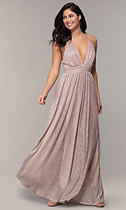 Image of v-neck glitter chiffon prom dress by PromGirl. Style: MCR-PL-3067 Detail Image 3