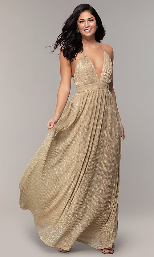 Image of v-neck glitter chiffon prom dress by PromGirl. Style: MCR-PL-3067 Detail Image 4