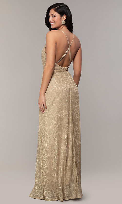 Image of v-neck glitter chiffon prom dress by PromGirl. Style: MCR-PL-3067 Detail Image 5