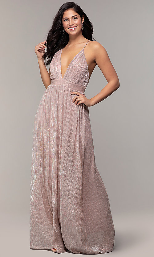 Image of v-neck glitter chiffon prom dress by PromGirl. Style: MCR-PL-3067 Front Image