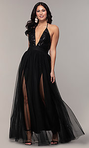 Image of long v-neck sequin-halter prom dress by PromGirl. Style: MCR-PL-2802 Front Image