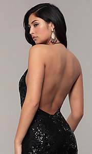 Image of sequin-mesh backless halter prom dress by PromGirl. Style: MCR-PL-2828 Detail Image 7