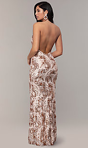 Image of sequin-mesh backless halter prom dress by PromGirl. Style: MCR-PL-2828 Back Image