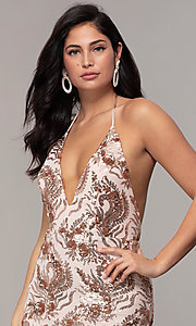 Image of sequin-mesh backless halter prom dress by PromGirl. Style: MCR-PL-2828 Detail Image 1