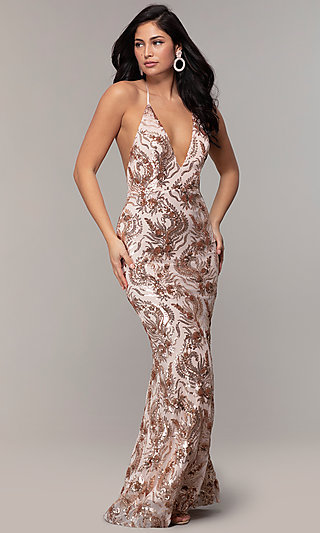Sequin-Mesh Backless Halter Prom Dress by PromGirl