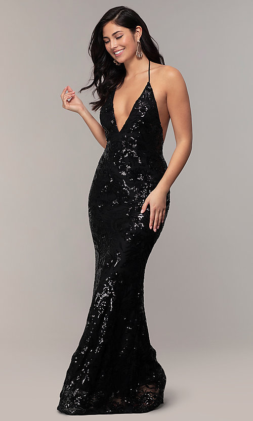 Image of sequin-mesh backless halter prom dress by PromGirl. Style: MCR-PL-2828 Detail Image 4