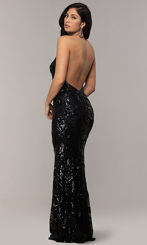 Image of sequin-mesh backless halter prom dress by PromGirl. Style: MCR-PL-2828 Detail Image 5