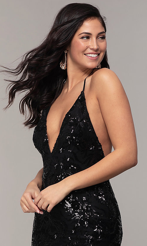 Image of sequin-mesh backless halter prom dress by PromGirl. Style: MCR-PL-2828 Detail Image 6