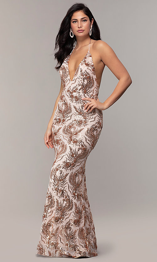 Image of sequin-mesh backless halter prom dress by PromGirl. Style: MCR-PL-2828 Detail Image 3