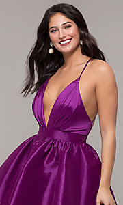 Image of short babydoll-style v-neck party dress. Style: LUX-LD5325 Detail Image 4