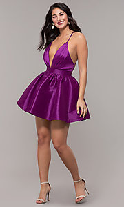 Image of short babydoll-style v-neck party dress. Style: LUX-LD5325 Detail Image 3
