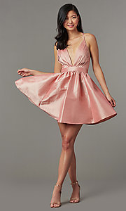 Image of short babydoll-style v-neck party dress. Style: LUX-LD5325 Detail Image 1
