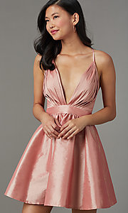 Image of short babydoll-style v-neck party dress. Style: LUX-LD5325 Front Image
