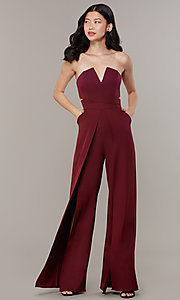 Image of strapless v-neck jumpsuit with wide wrap legs. Style: LUX-LJP3323 Detail Image 2