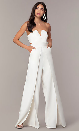 White Strapless Jumpsuit with a V-Neck Cut-Out