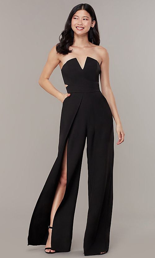 Image of strapless v-neck jumpsuit with wide wrap legs. Style: LUX-LJP3323 Front Image