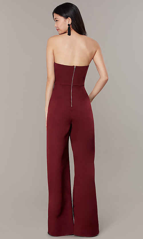 Image of strapless v-neck jumpsuit with wide wrap legs. Style: LUX-LJP3323 Detail Image 3