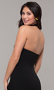Image of high-neck open-back halter short wedding-guest dress. Style: BLU-BD9455 Detail Image 2