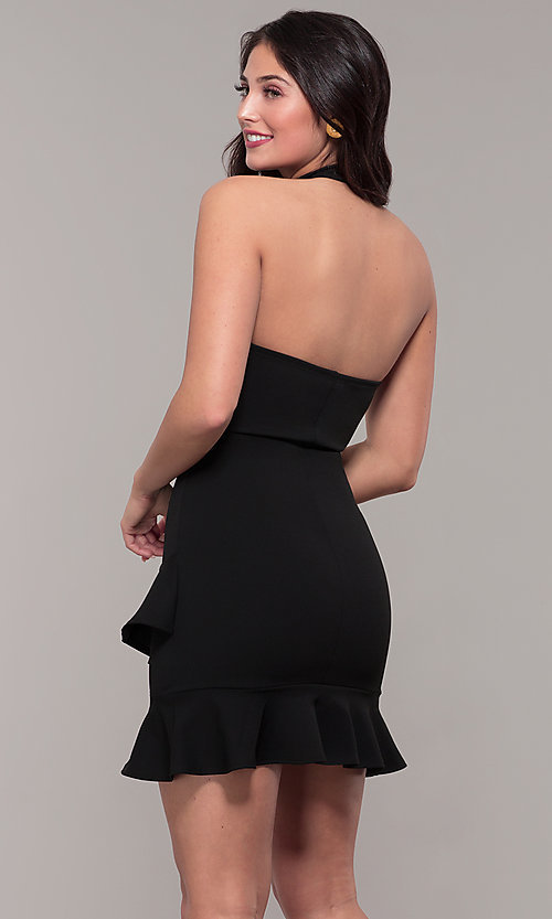 397c9641f8f Image of high-neck open-back halter short wedding-guest dress. Style