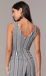 Image of v-neck cropped-leg striped party jumpsuit. Style: BLU-IBR1453-1 Detail Image 2