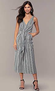 Image of v-neck cropped-leg striped party jumpsuit. Style: BLU-IBR1453-1 Detail Image 3