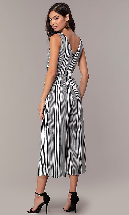 Image of v-neck cropped-leg striped party jumpsuit. Style: BLU-IBR1453-1 Back Image