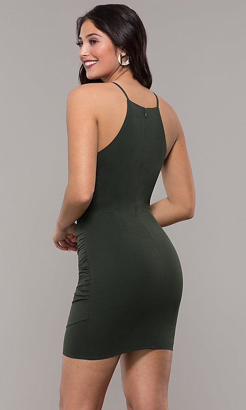 Image of short high-neck wedding-guest party dress. Style: STO-JD1786C Back Image