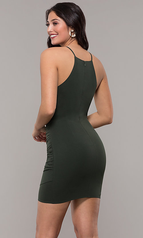 Image of short high-neck wedding-guest party dress. Style: STO-JD1786C Detail Image 1
