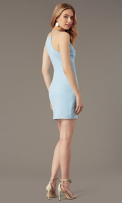 Image of short high-neck wedding-guest party dress. Style: STO-JD1786C Detail Image 5