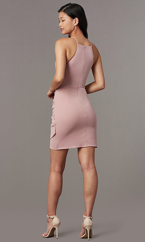 Image of short high-neck wedding-guest party dress. Style: STO-JD1786C Detail Image 2