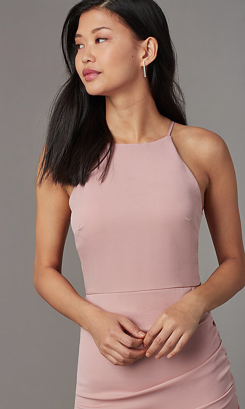 Image of short high-neck wedding-guest party dress. Style: STO-JD1786C Detail Image 3