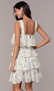 Image of tiered floral-print short graduation dress. Style: STO-JD1826 Back Image