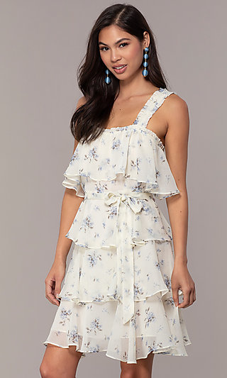 Tiered Floral Print Short Graduation Dress
