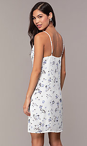 Image of short blue floral-print cowl-neck white party dress. Style: STO-JD1823A Back Image