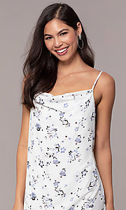 Image of short blue floral-print cowl-neck white party dress. Style: STO-JD1823A Detail Image 1