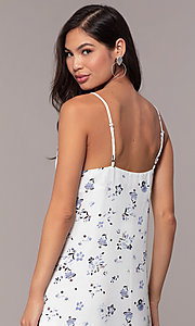 Image of short blue floral-print cowl-neck white party dress. Style: STO-JD1823A Detail Image 2