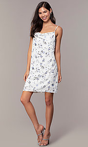 Image of short blue floral-print cowl-neck white party dress. Style: STO-JD1823A Detail Image 3