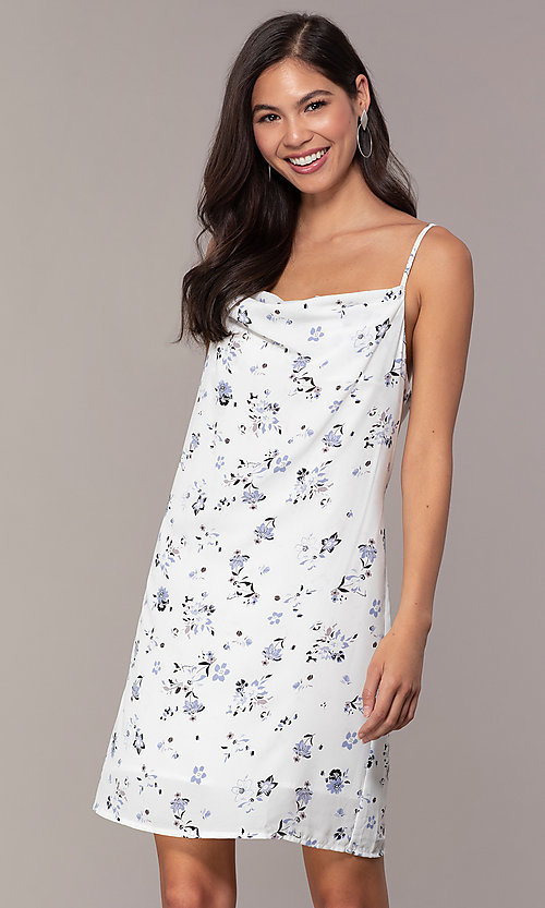 Image of short blue floral-print cowl-neck white party dress. Style: STO-JD1823A Front Image