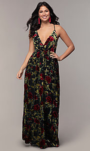 Image of floral-print long formal prom dress in velvet. Style: LP-25413 Front Image