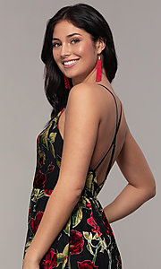 Image of floral-print long formal prom dress in velvet. Style: LP-25413 Detail Image 2