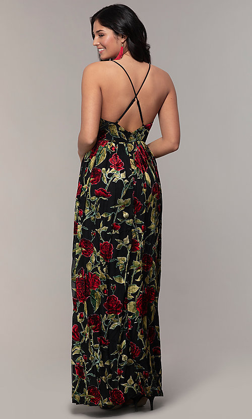 Image of floral-print long formal prom dress in velvet. Style: LP-25413 Back Image