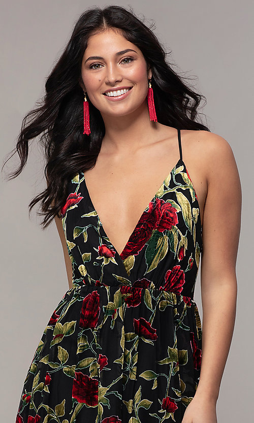 Image of floral-print long formal prom dress in velvet. Style: LP-25413 Detail Image 1