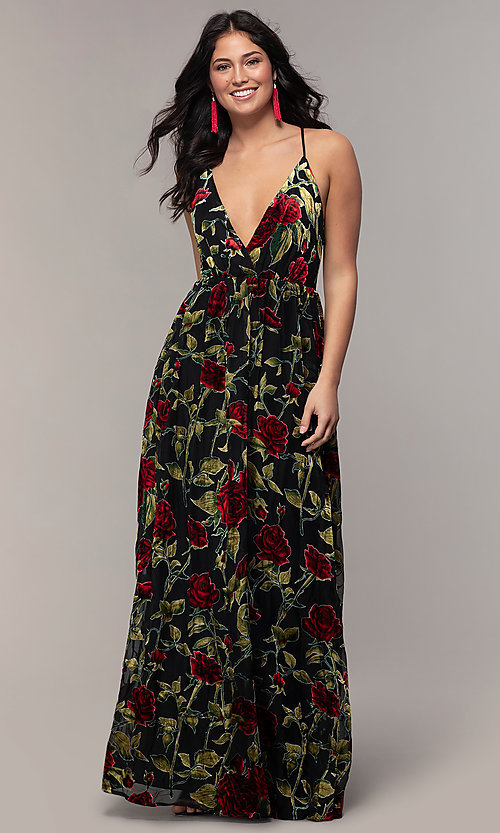 Image of floral-print long formal prom dress in velvet. Style: LP-25413 Detail Image 3