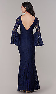 Image of long-sleeve lace mermaid prom dress in navy. Style: LP-25639 Back Image