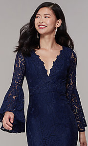 Image of long-sleeve lace mermaid prom dress in navy. Style: LP-25639 Detail Image 1